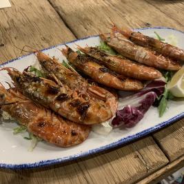 Plat crevettes restaurant Hotel Aran la Abuela Vielha